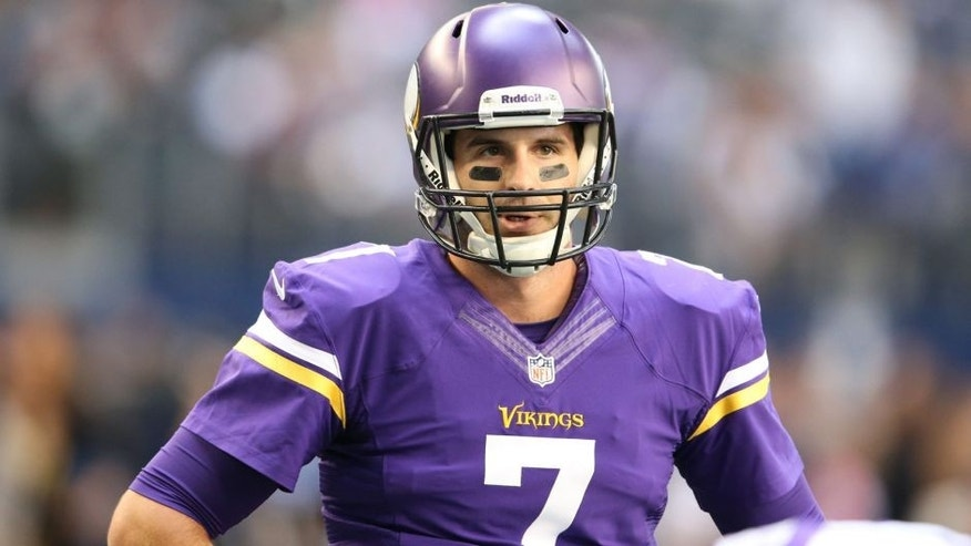 <p>Nov 3, 2013; Arlington, TX, USA; Minnesota Vikings quarterback Christian Ponder (7) prior to the game against the Dallas Cowboys at AT&T Stadium. Mandatory Credit: Matthew Emmons-USA TODAY Sports</p>