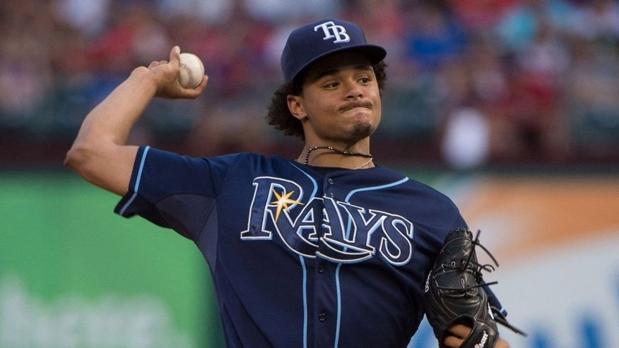 Aug 15, 2015; Arlington, TX, USA; Tampa Bay Rays starting pitcher Chris Archer (22) pitches against the Texas Rangers at Globe Life Park in Arlington. Mandatory Credit: Jerome Miron-USA TODAY Sports