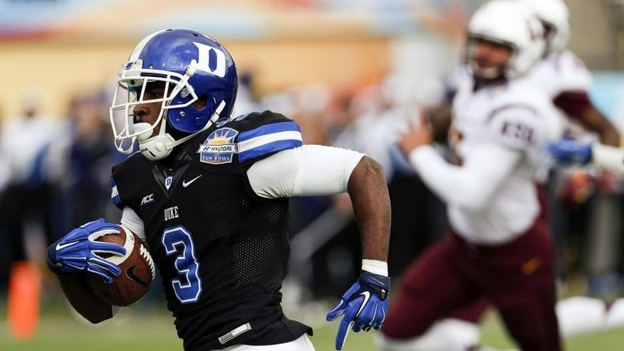 Dec 27, 2014; El Paso, TX, USA; Duke Blue Devils wide receiver Jamison Crowder (3) runs back a punt for a touchdown against the Arizona State Sun Devils in the 2014 Sun Bowl at Sun Bowl Stadium. Mandatory Credit: Ivan Pierre Aguirre-USA TODAY Sports