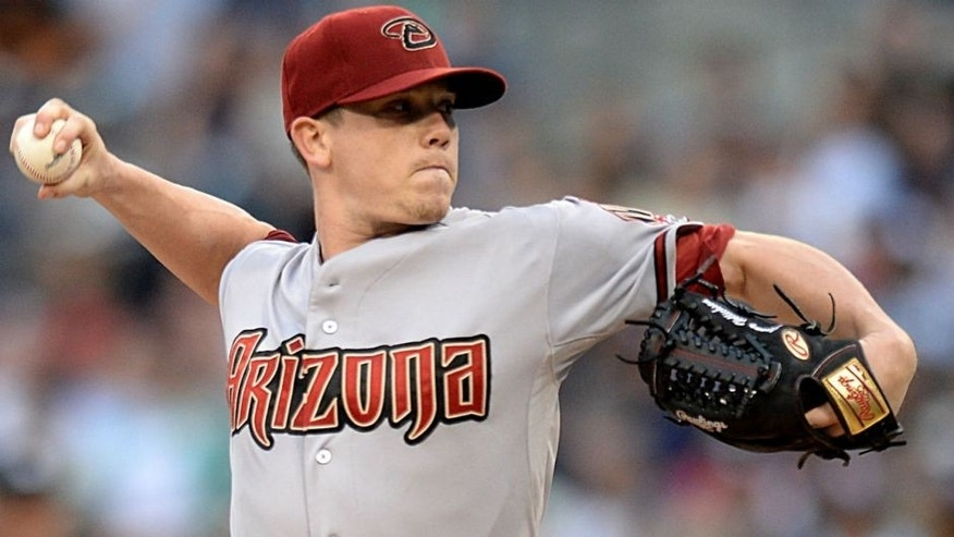Jun 27, 2015; San Diego, CA, USA; Arizona Diamondbacks starting pitcher Jeremy Hellickson (58) pitches during the first inning against the San Diego Padres at Petco Park. Mandatory Credit: Jake Roth-USA TODAY Sports