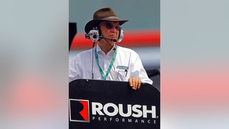 FILE - In this April 17, 2015, file photo, team owner Jack Roush watches from a car hauler during practice for a NASCAR Xfinity Series auto race at Bristol Motor Speedway in Bristol, Tenn. The cars of Roush Fenway Racing haven't won since Carl Edwards took the checkered flag at Sonoma, California, in June 2014 _ an uncomfortable 43-race drought that doesn't sit well in the RFR garage heading to Bristol Motor Speedway this weekend. (AP Photo/Wade Payne, File)