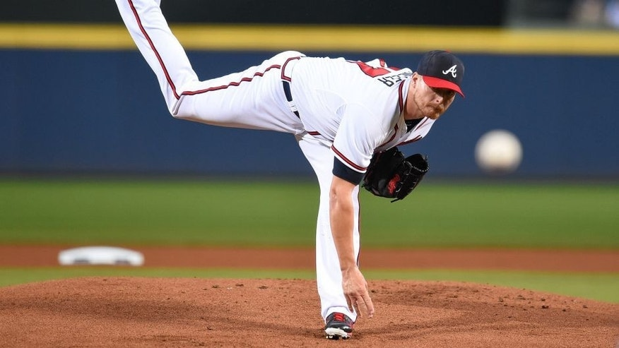 Apr 13, 2015; Atlanta, GA, USA; Atlanta Braves starting pitcher Shelby Miller (17) works against the Miami Marlins during the first inning at Turner Field. Mandatory Credit: Dale Zanine-USA TODAY Sports