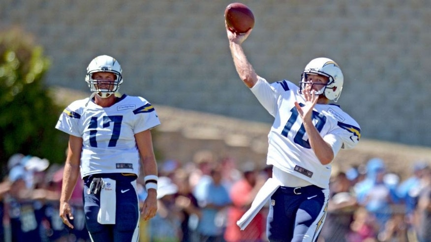 Aug 5, 2015; San Diego, CA, USA; San Diego Chargers quarterback Kellen Clemens (10) passes as quarterback Philip Rivers (17) looks on during minicamp at Chargers Park. Mandatory Credit: Jake Roth-USA TODAY Sports