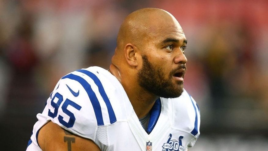 Nov 24, 2013; Phoenix, AZ, USA; Indianapolis Colts defensive end Fili Moala (95) against the Arizona Cardinals at University of Phoenix Stadium. The Cardinals defeated the Colts 40-11. Mandatory Credit: Mark J. Rebilas-USA TODAY Sports