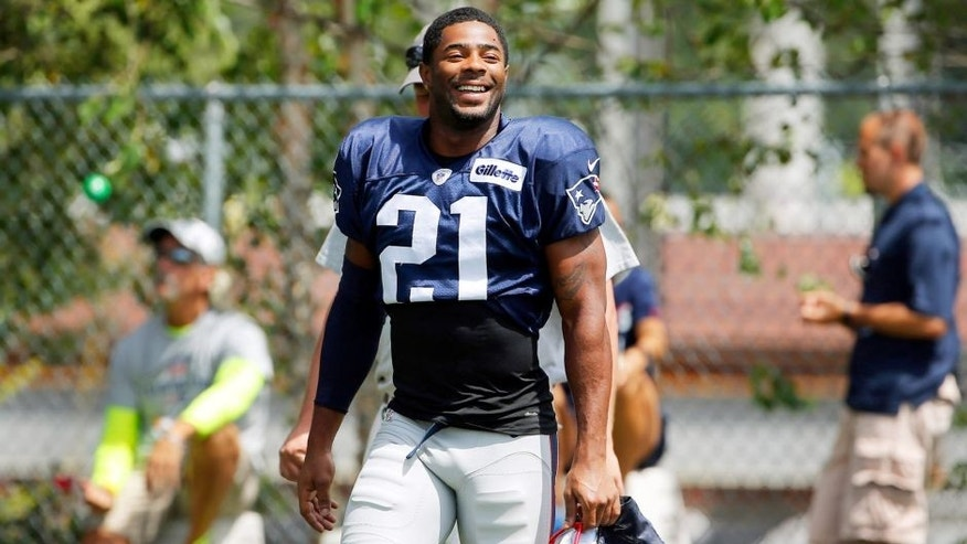 Aug 6, 2015; Foxborough, MA, USA; New England Patriots strong safety Malcolm Butler (21) smiles during training camp at Gillette Stadium. Mandatory Credit: Winslow Townson-USA TODAY Sports