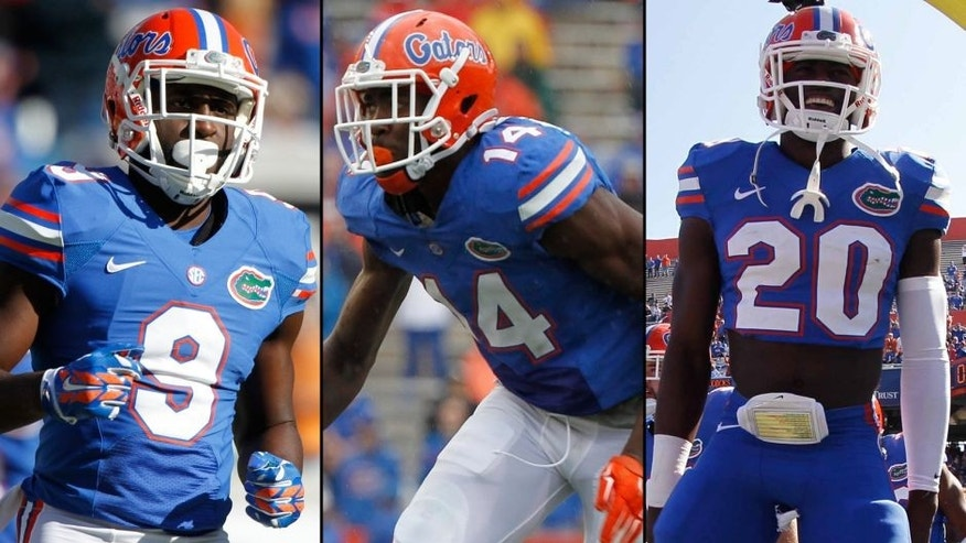<p>The Gators announced Friday that safety Marcus Maye (20), defensive end Alex McCalister (14) and receiver Latroy Pittman (9) won't play because of an undisclosed violation of program policy.</p>