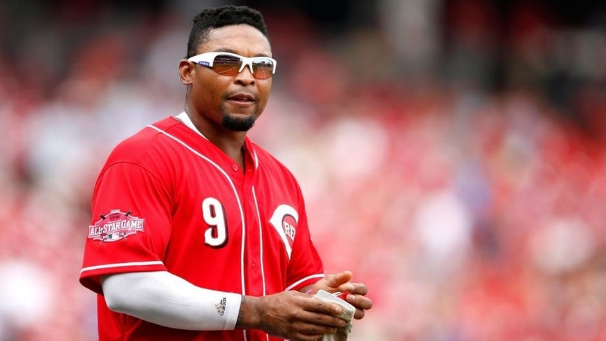 CINCINNATI, OH - JULY 1: Marlon Byrd #9 of the Cincinnati Reds looks on during the game against the Minnesota Twins at Great American Ball Park on July 1, 2015 in Cincinnati, Ohio. The Reds defeated the Twins 2-1. (Photo by Joe Robbins/Getty Images)