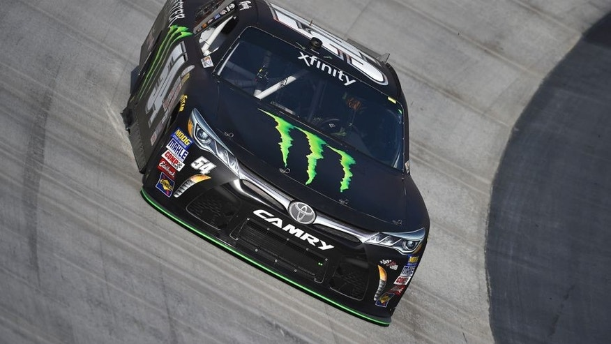 BRISTOL, TN - AUGUST 21: Kyle Busch, driver of the #54 Monster Energy Toyota, practices for the NASCAR XFINITY Series Food City 300 at Bristol Motor Speedway on August 21, 2015 in Bristol, Tennessee. (Photo by Rainier Ehrhardt/NASCAR via Getty Images)