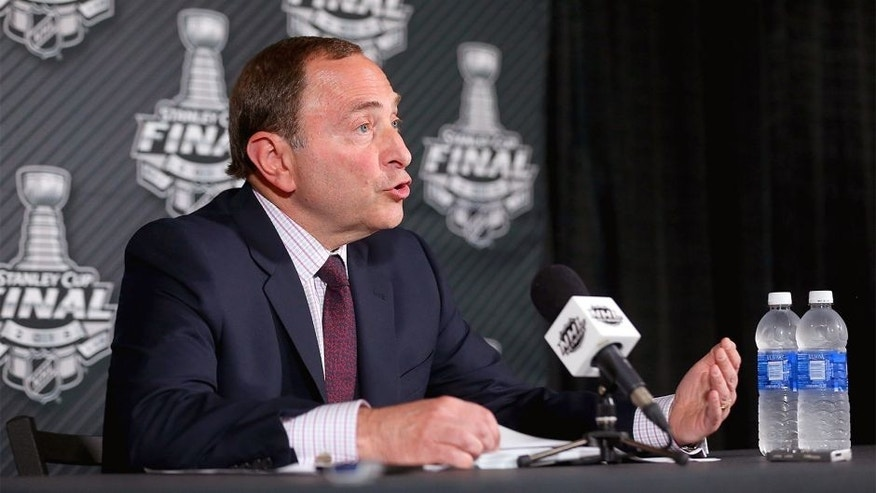 TAMPA, FL - JUNE 03: NHL Commissioner Gary Bettman speaks to the media before Game One of the 2015 NHL Stanley Cup Final between the Tampa Bay Lightning and the Chicago Blackhawks at Amalie Arena on June 3, 2015 in Tampa, Florida. (Photo by Bruce Bennett/Getty Images)