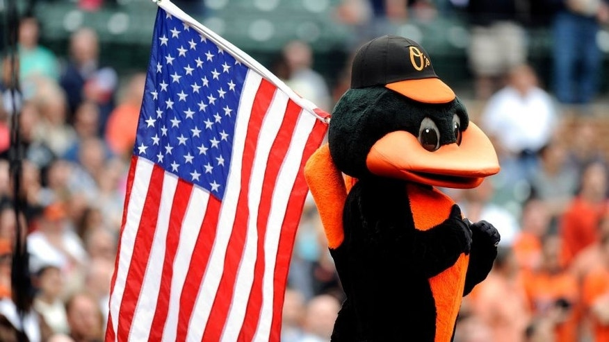 BALTIMORE, MD - MAY 19: The Baltimore mascot holds the American flag during the seventh inning of the game between the Tampa Bay Rays and the Baltimore Orioles at Oriole Park at Camden Yards on May 19, 2013 in Baltimore, Maryland. (Photo by G Fiume/Getty Images)