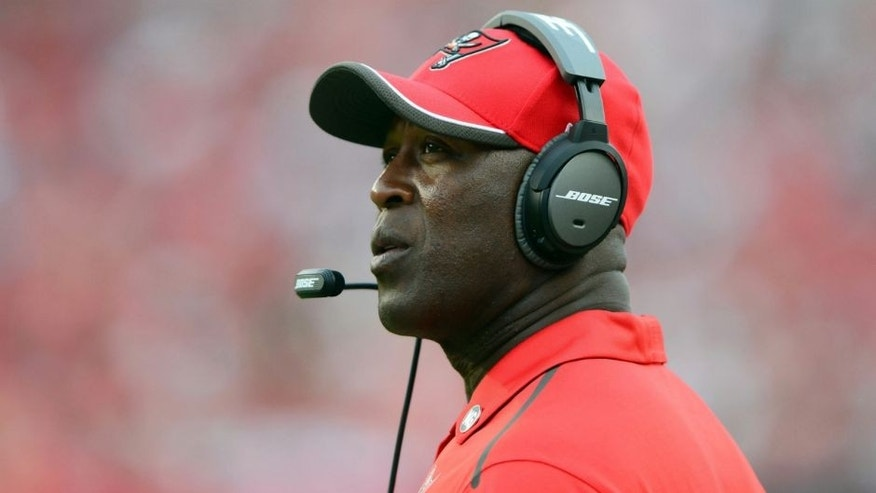 <p>Sep 7, 2014; Tampa, FL, USA; Tampa Bay Buccaneers head coach Lovie Smith on the sidelines during the fourth quarter against the Carolina Panthers at Raymond James Stadium. Carolina defeated Tampa 20-14. Mandatory Credit: Andrew Weber-USA TODAY Sports</p>