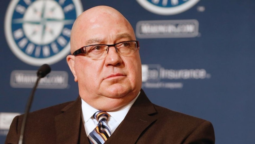 GM Jack Zduriencik of the Seattle Mariners looks on during a press conference introducing Robinson Cano to the media at Safeco Field on December 12, 2013 in Seattle, Washington. (Photo by Otto Greule Jr/Getty Images)