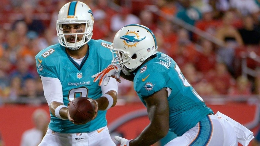 Miami Dolphins quarterback Matt Moore (8) hands off to running back Damien Williams (5) on a 1-yard touchdown run against the Tampa Bay Buccaneers during the third quarter of an NFL preseason football game Saturday, Aug. 16, 2014, in Tampa, Fla. (AP Photo/Phelan M. Ebenhack)