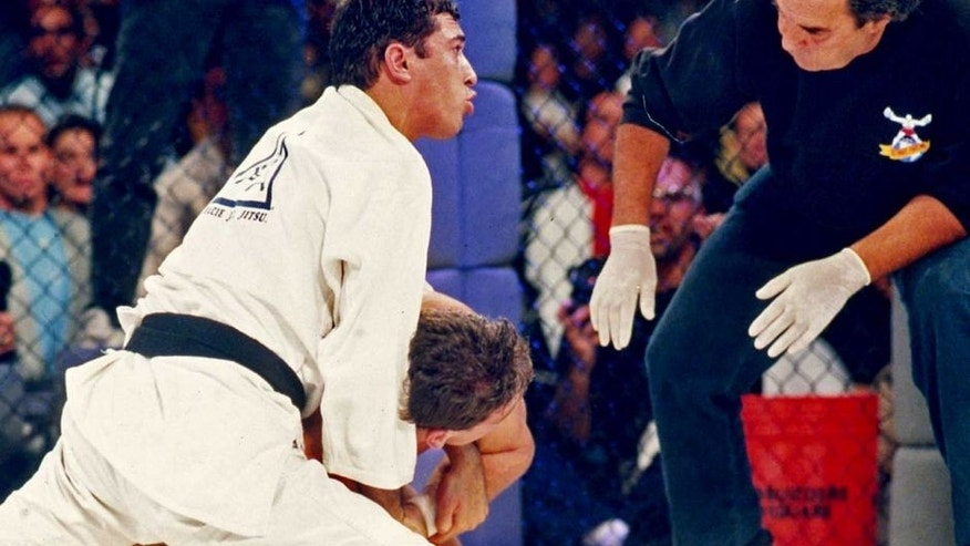 DENVER, CO - NOVEMBER 12: Royce Gracie in action during the Ultimate Fighter Championships UFC 1 on November 12, 1993 at the McNichols Sports Arena in Denver, Colorado. (Photo by Holly Stein/Getty Images)