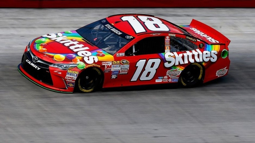 BRISTOL, TN - AUGUST 21: Kyle Busch, driver of the #18 Skittles Toyota, practices for the NASCAR Sprint Cup Series Irwin Tools Night Race at Bristol Motor Speedway on August 21, 2015 in Bristol, Tennessee. (Photo by Gregory Shamus/Getty Images)