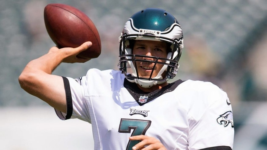 PHILADELPHIA, PA - AUGUST 16: Sam Bradford #7 of the Philadelphia Eagles warms up prior to the game against the Indianapolis Colts on August 16, 2015 at Lincoln Financial Field in Philadelphia, Pennsylvania. (Photo by Mitchell Leff/Getty Images)