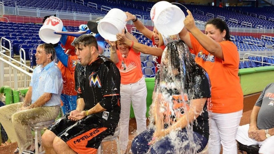 <p>Rich Waltz and Jose Fernandez take the Ice Bucket Challenge.<br> </p>