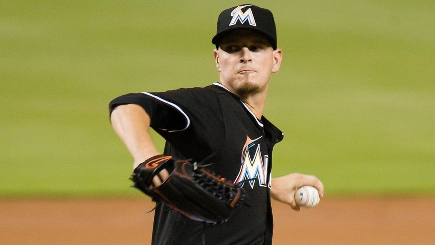 Aug 22, 2015; Miami, FL, USA; Miami Marlins starting pitcher Justin Nicolino (60) throws the ball against the Philadelphia Phillies during the first inning at Marlins Park. Mandatory Credit: Steve Mitchell-USA TODAY Sports