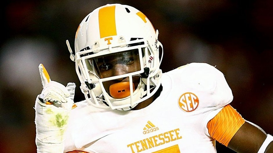 COLUMBIA, SC - NOVEMBER 01: Rashaan Gaulden #7 of the Tennessee Volunteers reacts after a play against the South Carolina Gamecocks during their game at Williams-Brice Stadium on November 1, 2014 in Columbia, South Carolina. (Photo by Streeter Lecka/Getty Images)