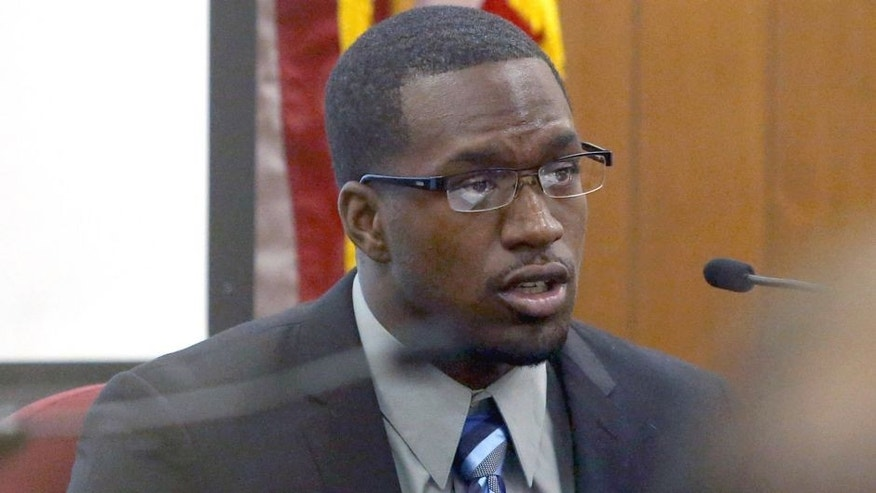 In this photo taken on Thursday, Aug. 20, 2015, Sam Ukwuachu takes the stand during his trial at Wacoís 54th State District Court, in Waco, Texas. The one-time All-American who transferred to play football at Baylor University has been convicted of sexually assaulting a fellow student athlete in 2013. (Jerry Larson/Waco Tribune-Herald via AP) MANDATORY CREDIT