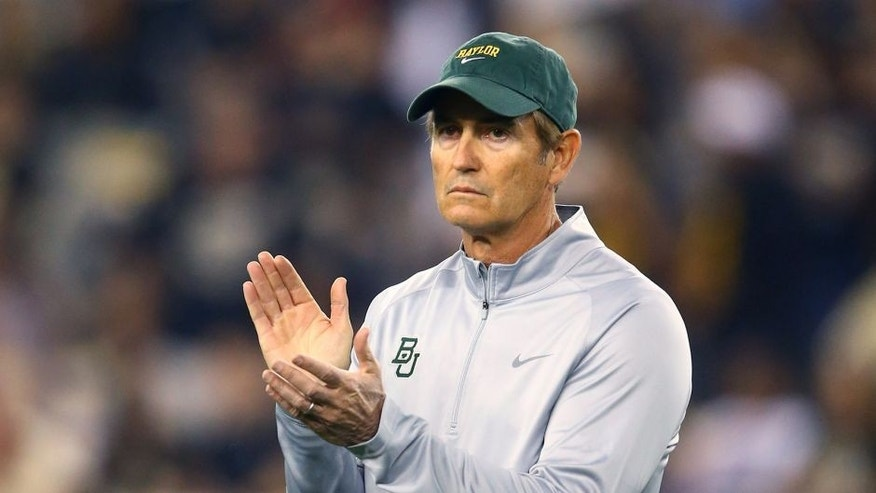 Jan 1, 2014; Glendale, AZ, USA; Baylor Bears head coach Art Briles against the Central Florida Knights during the Fiesta Bowl at University of Phoenix Stadium. Mandatory Credit: Mark J. Rebilas-USA TODAY Sports