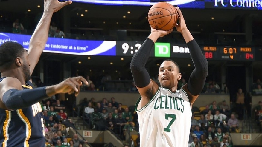 BOSTON, MA - NOVEMBER 7: Jared SUllinger #7 of the Boston Celtics takes a shot against the Indiana Pacers on November 7, 2014 at the TD Garden in Boston, Massachusetts. (Photo by Brian Babineau /NBAE via Getty Images)