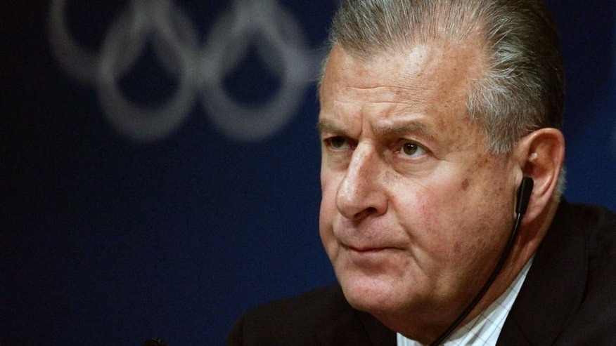 ATHENS, GREECE - AUGUST 18: International Olympic Committee (IOC) spokesman Francois Carrard holds a press conference August 18, 2004 in Athens. He announced that Greek sprinters Kostas Kenteris and team mate Katerina Thanou as well as their coach Christos Tsekos have withdrawn from the Athens games after the athletes missed a drugs test last Thursday, and then were hospitalised after a motorcycle accident. (Photo by Ian Waldie/Getty Images)
