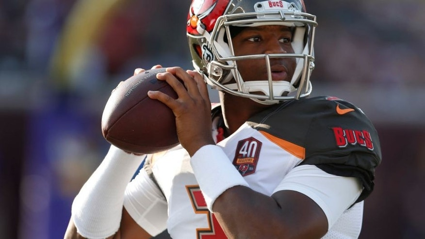 <p>Tampa Bay Buccaneers quarterback Jameis Winston warms up for a preseason NFL football game against the Minnesota Vikings on Saturday, Aug. 15, 2015, in Minneapolis. (AP Photo/Jim Mone)</p>