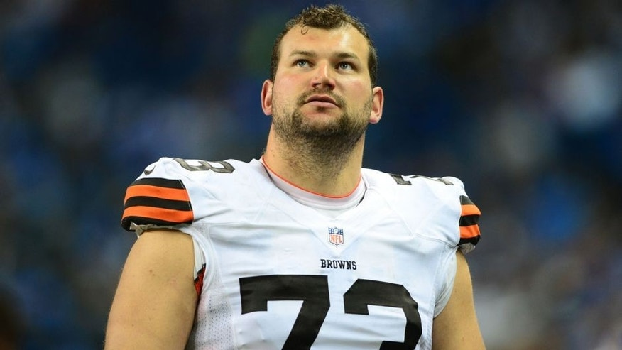 Aug 9, 2014; Detroit, MI, USA; Cleveland Browns offensive tackle Joe Thomas (73) against the Detroit Lions at Ford Field. Mandatory Credit: Andrew Weber-USA TODAY Sports