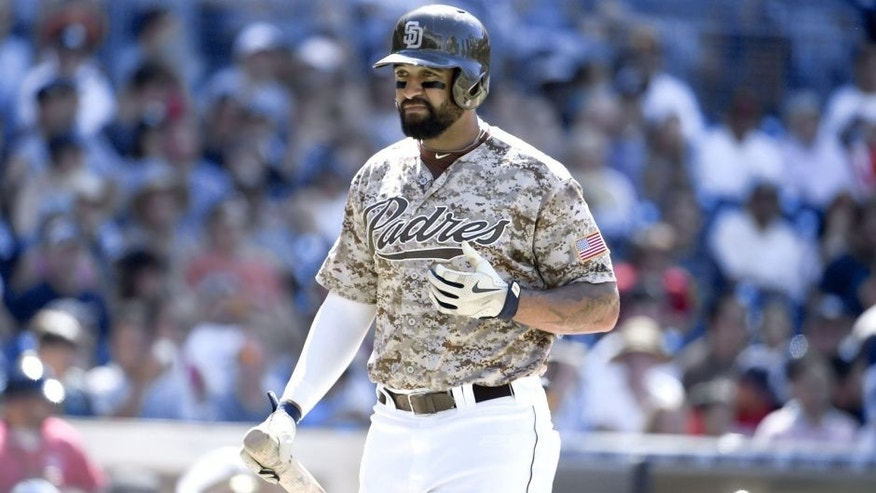 SAN DIEGO, CA - JULY 26: Matt Kemp #27 of the San Diego Padres plays during a baseball game against the Miami Marlins at Petco Park July 26, 2015 in San Diego, California. (Photo by Denis Poroy/Getty Images)