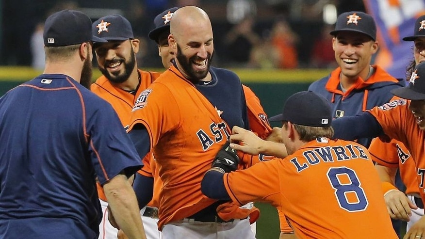 HOUSTON, TX - AUGUST 21: Mike Fiers #54 of the Houston Astros celebrates with his teammates tossing a no-hitter en route to the Astros defeating the Los Angeles Dodgers 3-0 at Minute Maid Park on August 21, 2015 in Houston, Texas. (Photo by Scott Halleran/Getty Images)