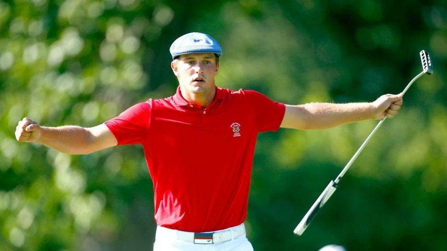 OLYMPIA FIELDS, IL - AUGUST 23: Bryson DeChambeau reacts to his final putt on the 12th hole during the final match of the U.S. Amateur Championship at Olympia Fields Country Club August 23, 2015 in Olympia Fields, Illinois. DeChambeau beat Derek Bard 7-6 (Photo by Jeff Haynes/Getty Images)
