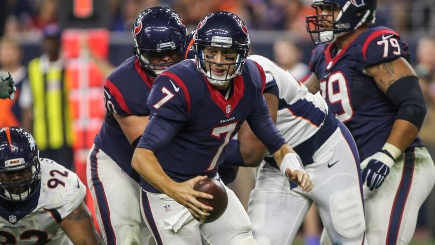 Aug 22, 2015; Houston, TX, USA; Houston Texans quarterback Brian Hoyer (7) scrambles with the ball during the second quarter against the Denver Broncos at NRG Stadium. Mandatory Credit: Troy Taormina-USA TODAY Sports