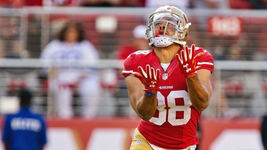 SANTA CLARA, CA - AUGUST 23: Jarryd Hayne #38 of the San Francisco 49ers returns a punt against the Dallas Cowboys in the first quarter of a preseason game on August 23, 2015 at Levi's Stadium in Santa Clara, California. (Photo by Brian Bahr/Getty Images)