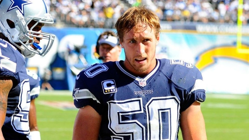 <p>Dallas Cowboys linebacker Sean Lee (50) after an interception returned for a touchdown during the second quarter against the San Diego Chargers at Qualcomm Stadium.  </p>