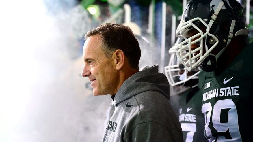 Nov 8, 2014; East Lansing, MI, USA; Michigan State Spartans head coach Mark Dantonio prior to the game against the Ohio State Buckeyes at Spartan Stadium. Mandatory Credit: Andrew Weber-USA TODAY Sports