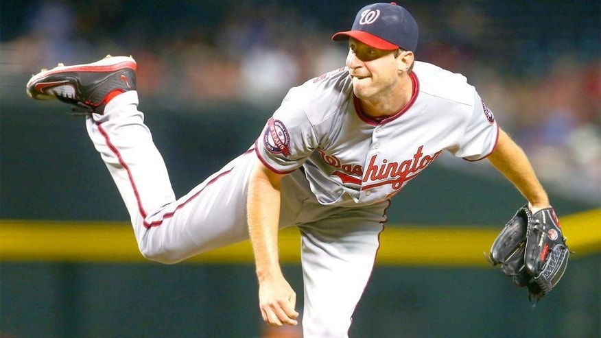 May 11, 2015; Phoenix, AZ, USA; Washington Nationals pitcher Max Scherzer against the Arizona Diamondbacks at Chase Field. Mandatory Credit: Mark J. Rebilas-USA TODAY Sports