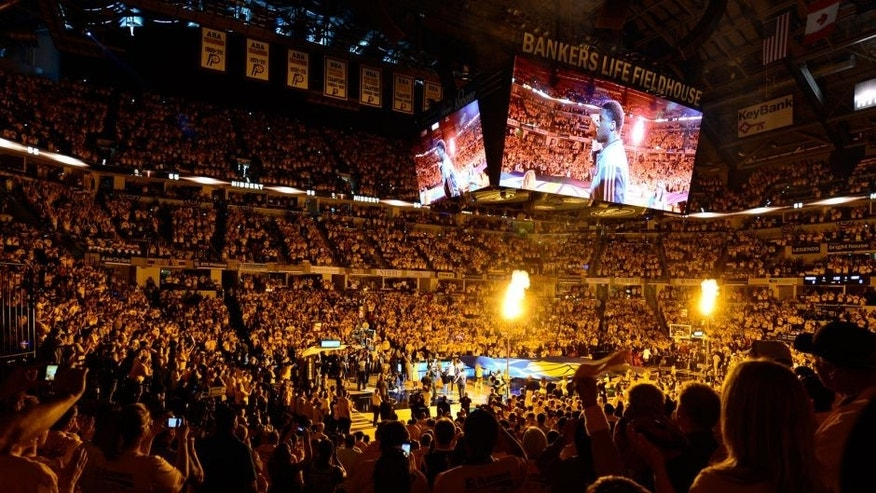 May 18, 2014; Indianapolis, IN, USA; The Indiana Pacers are introduced before game one of the Eastern Conference Finals of the 2014 NBA Playoffs against the Miami Heat at Bankers Life Fieldhouse. Mandatory Credit: Marc Lebryk-USA TODAY Sports