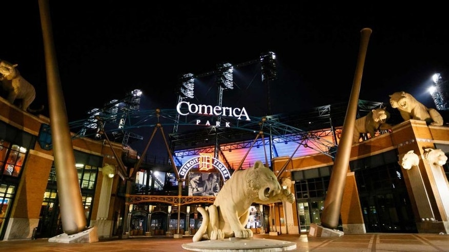 April 30, 2013; Detroit, MI, USA; General view of exterior at night of Comerica Park. Mandatory Credit: Rick Osentoski-USA TODAY Sports