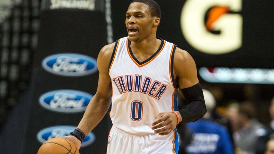 <p>Dec 12, 2014; Minneapolis, MN, USA; Oklahoma City Thunder guard Russell Westbrook (0) calls a play during the first quarter against the Minnesota Timberwolves at Target Center. Mandatory Credit: Brace Hemmelgarn-USA TODAY Sports</p>