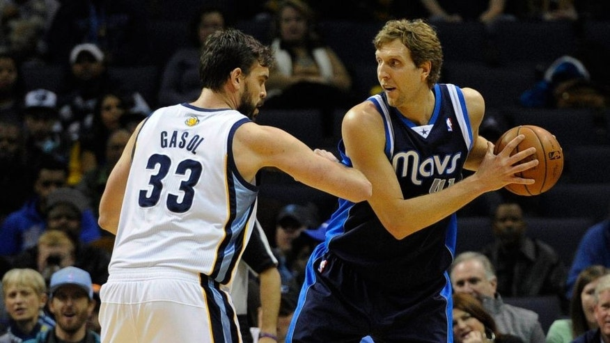 Feb 5, 2014; Memphis, TN, USA; Memphis Grizzlies center Marc Gasol (33) guards Dallas Mavericks power forward Dirk Nowitzki (41) at FedExForum. Mandatory Credit: Justin Ford-USA TODAY Sports