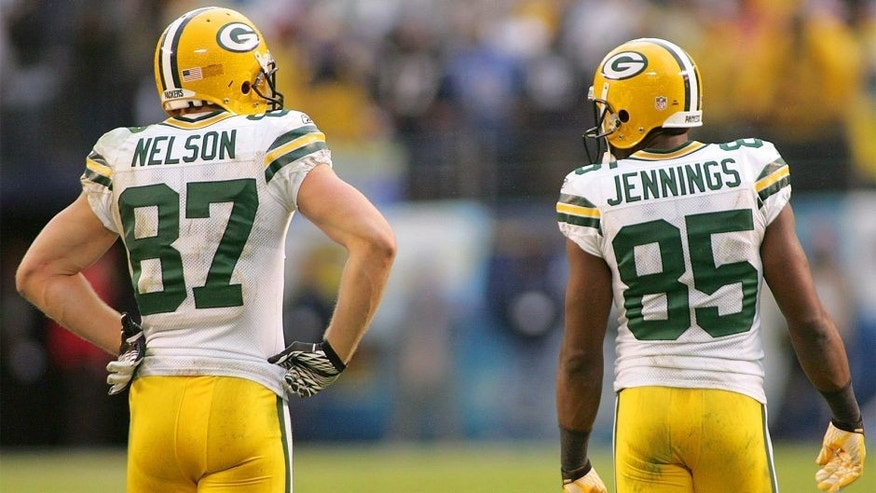 Nov 6, 2011; San Diego, CA, USA; Green Bay Packers wide receiver Jordy Nelson (87) and wide receiver Greg Jennings (85) during the fourth quarter against the San Diego Chargers at Qualcomm Stadium. Mandatory Credit: Jake Roth-USA TODAY Sports