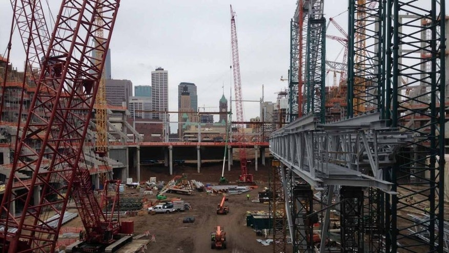 Construction of the new Minnesota Vikings stadium progresses in April 2015.