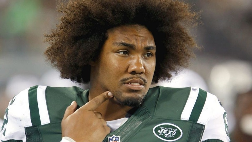 Aug 21, 2015; East Rutherford, NJ, USA; New York Jets defensive tackle Leonard Williams (62) watches game against the Atlanta Falcons from sidelines during second half at MetLife Stadium. Mandatory Credit: Noah K. Murray-USA TODAY Sports