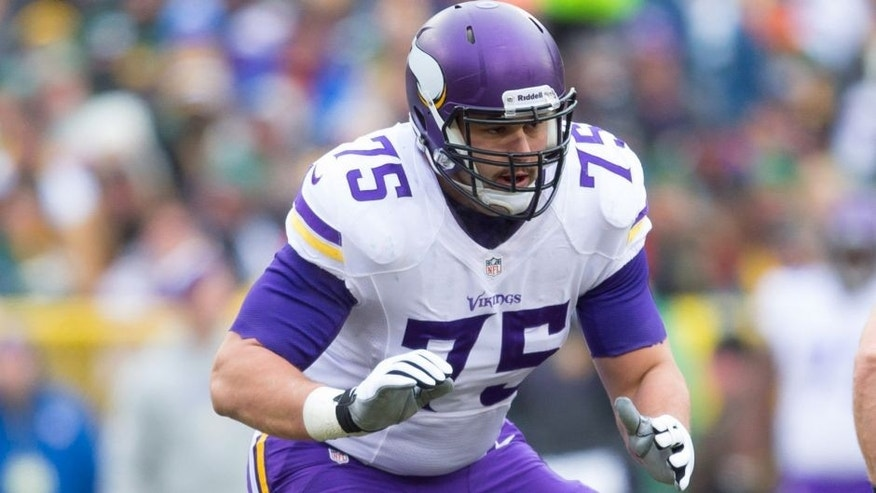<p>Nov 24, 2013; Green Bay, WI, USA; Minnesota Vikings offensive tackle Matt Kalil (75) during the game against the Green Bay Packers at Lambeau Field. The Vikings and Packers tied 26-26. Mandatory Credit: Jeff Hanisch-USA TODAY Sports</p>