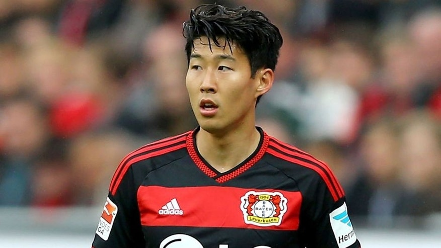 LEVERKUSEN, GERMANY - MAY 16: Heung-Min Son of Leverkusen looks on during the Bundesliga match between Bayer 04 Leverkusen and 1899 Hoffenheim at BayArena on May 16, 2015 in Leverkusen, Germany. (Photo by Christof Koepsel/Bongarts/Getty Images)