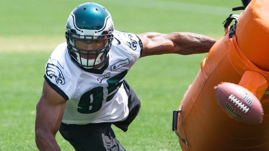 May 28, 2015; Philadelphia, PA, USA; Philadelphia Eagles linebacker Mychal Kendricks (95) doing pass rush drills during OTA's at the NovaCare Complex. Mandatory Credit: Bill Streicher-USA TODAY Sports