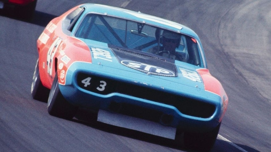 UNITED STATES - MARCH 06: 1972 Miller 500 - NASCAR - Ontario Motor Speedway. Team owner (Petty Enterprises) and driver Richard Petty drives his '72 Plymouth to a fourth place finish. (Photo by Bob D'Olivo/The Enthusiast Network/Getty Images)