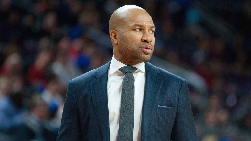Feb 27, 2015; Auburn Hills, MI, USA; New York Knicks head coach Derek Fisher during the second quarter against the Detroit Pistons at The Palace of Auburn Hills. Mandatory Credit: Tim Fuller-USA TODAY Sports
