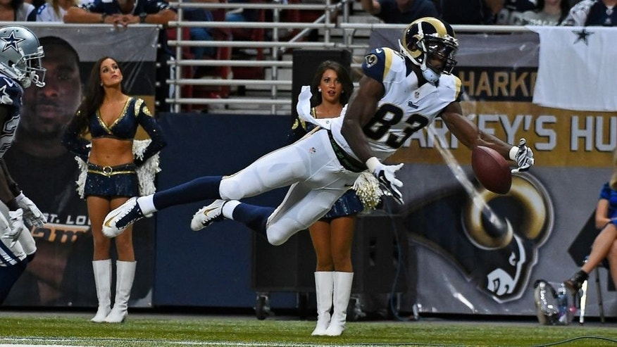 Sep 21, 2014; St. Louis, MO, USA; St. Louis Rams wide receiver Brian Quick (83) fails to make a catch against the St. Louis Rams during the second half at the Edward Jones Dome. The Dallas Cowboys defeat the St. Louis Rams 34-31. Mandatory Credit: Jasen Vinlove-USA TODAY Sports